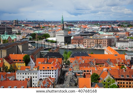 kind from the roof of spire of The Church of Our Saviour in Copenhagen, Denmark - stock photo