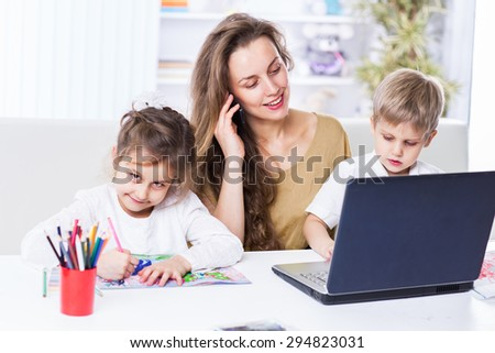Kind, happy family relaxing at home. - stock photo
