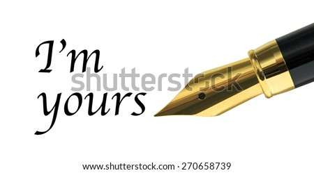 kind message written with golden fountain pen - stock photo