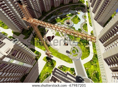 Kind of a building on a background skyscrapers - stock photo