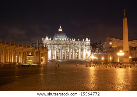 Kind of a cathedral of St. Peter from at night. Rome, Italy - stock photo