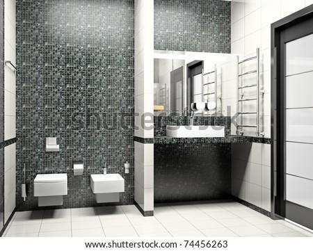 Kind of a modern interior of a bathroom 3D - stock photo