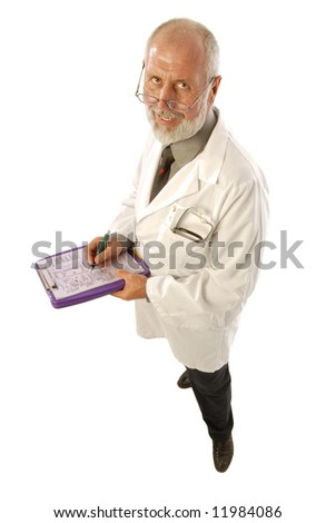 Kind, older doctor taking notes; isolated on white