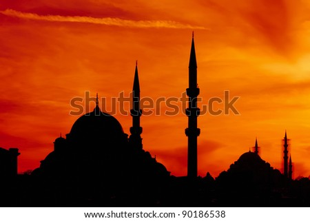 Kind on the  mosques of a city of Istanbul on a sunset  from passage Bosphorus, Turkey - stock photo