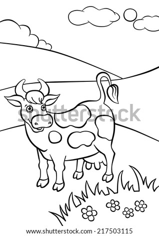 Kind smiling cow standing on the field - stock photo