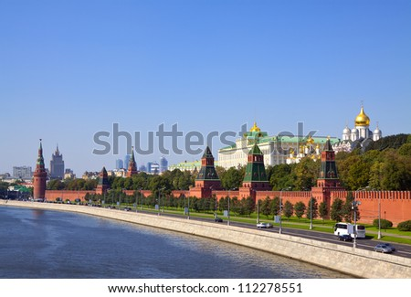 Kind to the Moscow Kremlin  and   Moskva River - stock photo