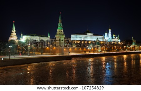 Kind to the Moscow Kremlin  and   Moskva River in winter night. Russia - stock photo