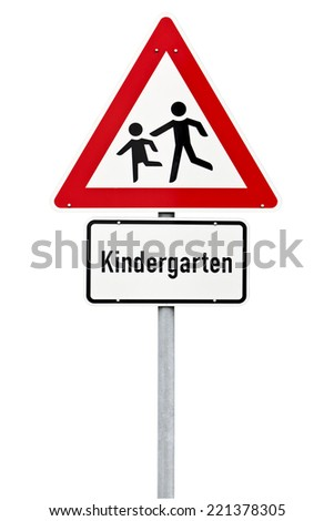 Kindergarten ahead warning traffic sign isolated with clipping path