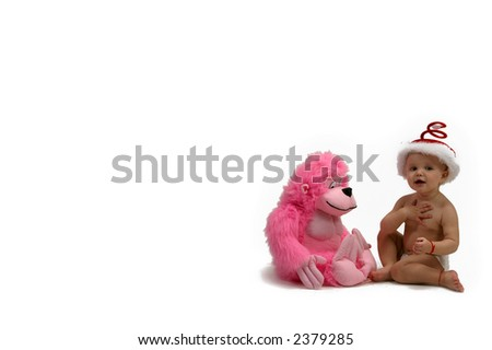 kindergarten - baby plays with a toy - stock photo