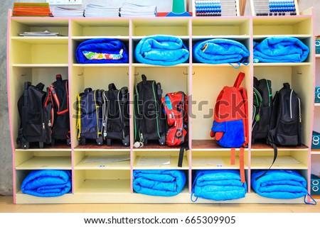 Kindergarten Bag Storage. Kids Backpack Storage.