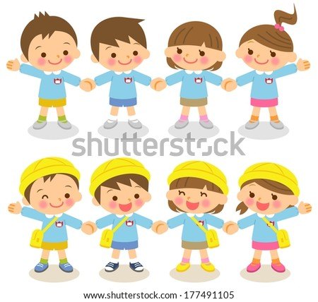 Kindergarten children - stock photo