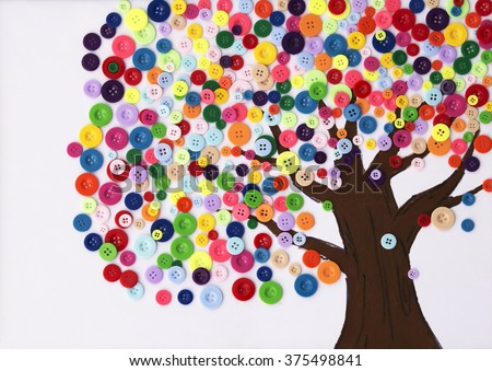 Kindergarten Children's craft of a tree made of buttons - stock photo