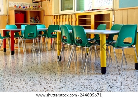 Wide Classroom Nursery School Tables Chairs Stock Photo - Nursery tables and chairs