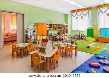 Kindergarten, game room. - stock photo