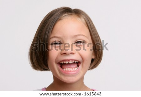 kindergarten girl laughing - stock photo