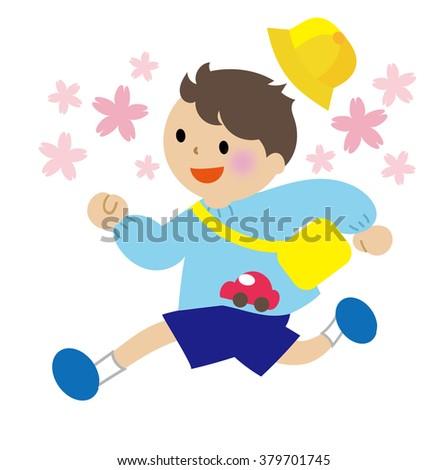 Kindergartener running  - stock photo