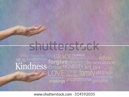 Kindness Word Cloud Banner - Female hand outstretched with palm up and the word Kindness hovering above surrounded by a relevant word cloud on a pastel colored stone effect background  - stock photo