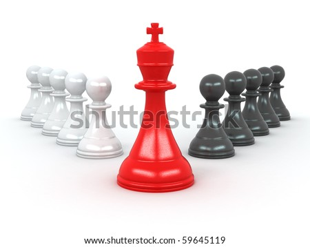 king and pawns. Leadership. 3d - stock photo
