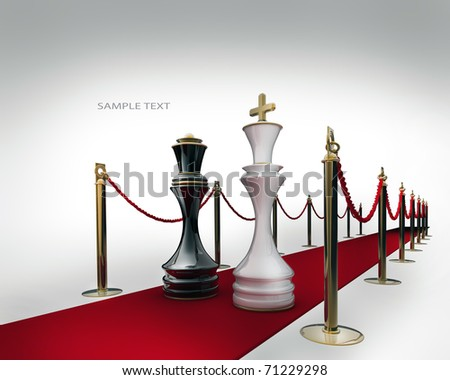 King and Queen chess on red carpet isolated. 3d render - stock photo