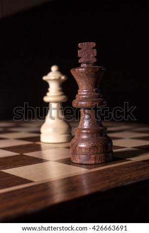 king and queen - chess pieces - stock photo