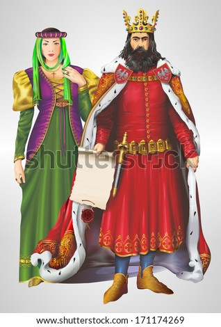 King and Queen Detailed Illustration. King and Queen Isolated on Grey. Casimir III the Great and Aldona of Lithuania