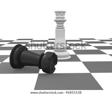 King and rook on a chessboard. 3d render - stock photo