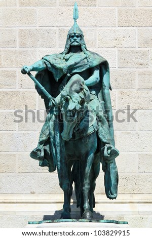 King Arpad on the millenium memorial in Budapest, Hungary - stock photo
