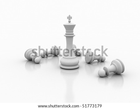 king beats pawns - stock photo