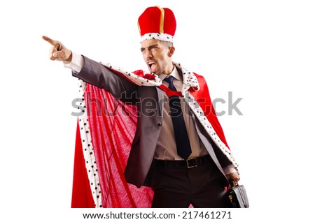 King businessman isolated on the white - stock photo