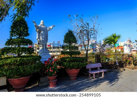 King Cathedral (Stone Church) in the evening. Nha Trang, Vietnam - stock photo
