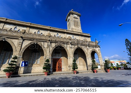 King Cathedral (Stone Church) in the morning. Nha Trang, Vietnam - stock photo