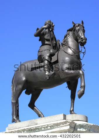 King Charles I equestrian statue cast in bronze sculptured in 1633, stands in Trafalgar Square, London, England, UK - stock photo
