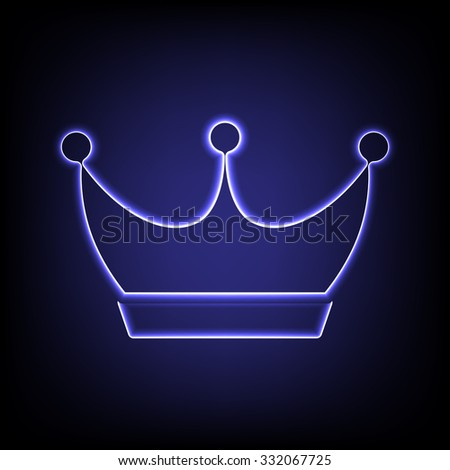 King crown icon with neon effect