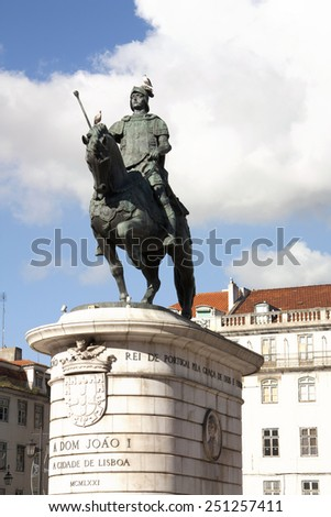 King Dom Joao I statue in Pra�§a Figueira, LIsbon, Portugal