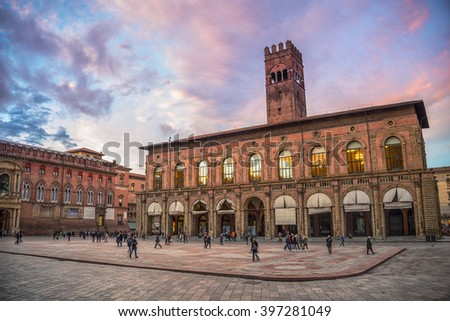 King Enzo palace at the main square of Bologna, Italy. Famous landmark at sunset in the evening - stock photo