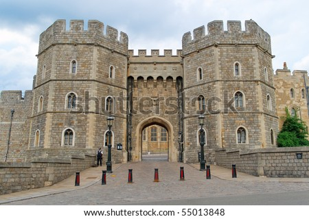 King Henry VIII Gate of Windsor Castle, the Official Residence of Her Majesty The Queen - stock photo