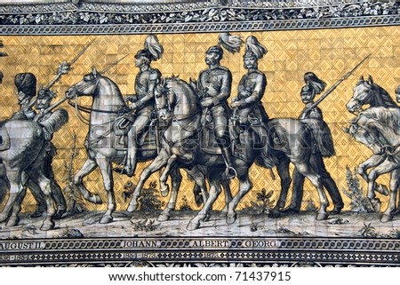 King Johann ('John'), King Albert, King Georg  (George) on Wilhelm Walter's Fu?rstenzug in Dresden. It consists of c. 25,000 Meissen porcelain tiles, the largest tile mural in the world - stock photo