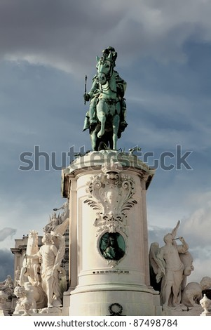 King Jose I on Commerce Square, Lisbon - stock photo