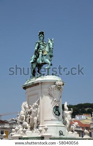King Jose I statue at Praca do Comercio in Lisbon, Portugal - stock photo