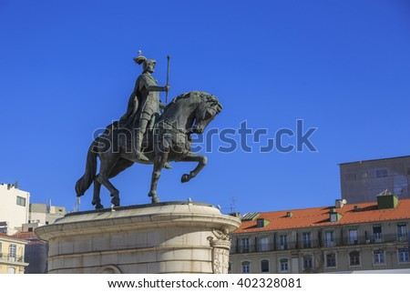 King Jose I statue near Lisbon Story Center at sunny day, Portugal