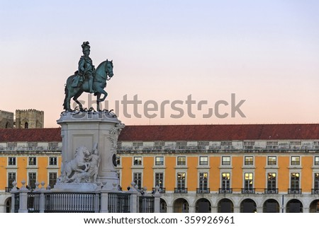 King Jose I statue near Lisbon Story Center at sunset, Portugal