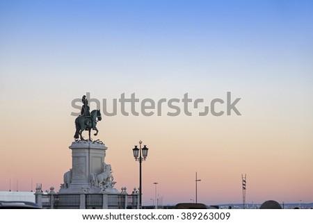 King Jose I statue near Lisbon Story Center at sunset, Portugal - stock photo