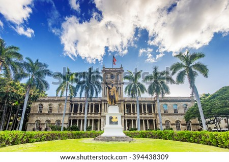King Kamehameha Statue across from Iolani Palace in historic downtown Honolulu - stock photo