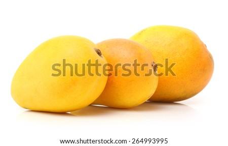 King of fruits; Alphonso yellow Mango fruit  isolated on white background - stock photo
