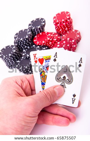 king of hearts and black jack with poker chips on white background - stock photo
