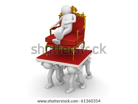 King on throne and slaves - Lifestyle collection - stock photo
