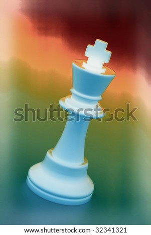 King on Warm and Green Background - stock photo
