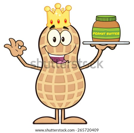 King Peanut Cartoon Character Holding A Jar Of Peanut Butter. Raster Illustration Isolated On White - stock photo
