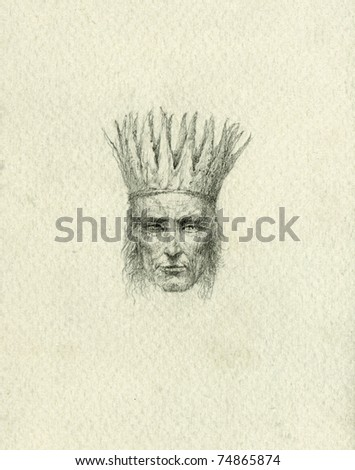 King. Pencil on paper. - stock photo