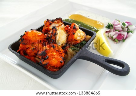 king prawn tikka kebab - stock photo